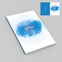 蓝色水墨艺术画册封面