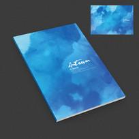 蓝色水墨艺术宣传册封面