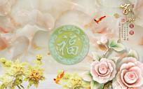 玉雕牡丹花中式电视背景墙