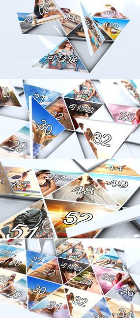 3d立体三角形拼图写真相册模板