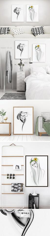 北欧黑白美女性感水彩装饰画无框画