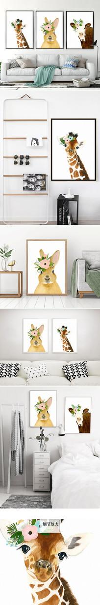 北欧简约长颈鹿装饰画