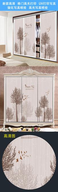 高档衣柜背景柜门打印图案