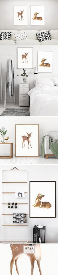 简约时尚北欧麋鹿装饰画