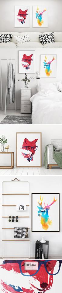 麋鹿水彩狼头装饰画