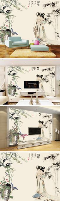 凝萃中式水墨花鸟竹子人物电视背景墙