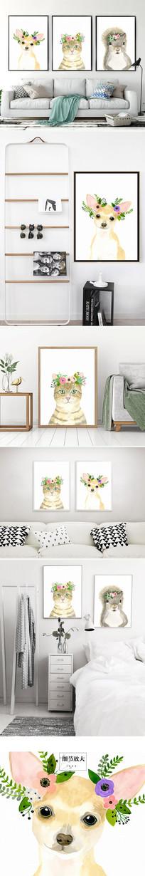 时尚动物小狗小猫装饰画