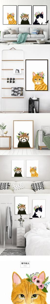 时尚简约北欧动物小猫装饰画三联