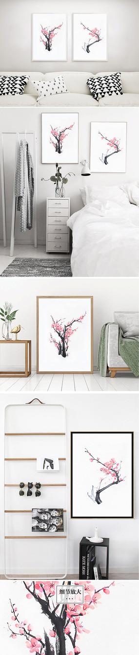 桃花粉色水墨装饰画中式
