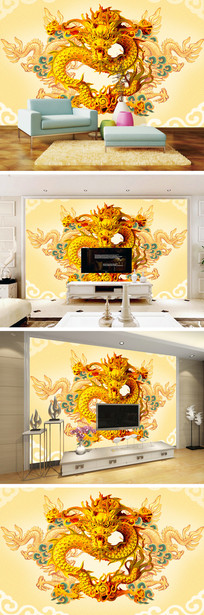 中国风浮雕龙电视背景墙