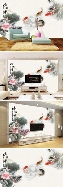中国风工笔荷花鲤鱼电视背景墙
