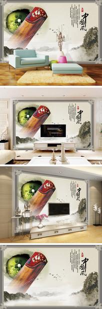 中国风荷花古筝电视背景墙