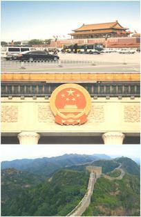 北京天安门广场长城航拍国徽特写视频