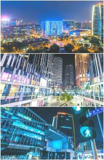 城市夜景霓虹灯高楼大厦路口红绿灯视频