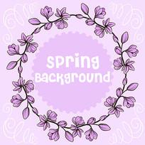 儿童内衣吊牌紫色花环图案素材