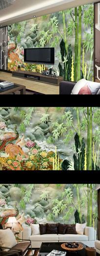 家和富贵玉雕山水竹林壁画背景墙