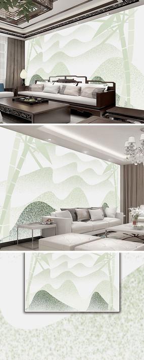 简约意境清爽抽象山水风景新中式背景墙