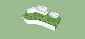 绿色印花沙发模型