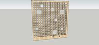 木质方格镂空纹铺装 skp
