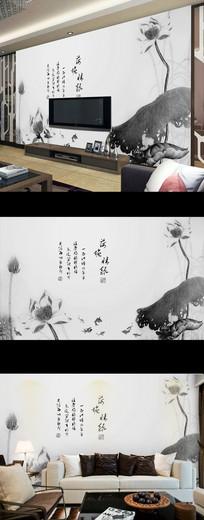 新中式水墨荷花古典时尚背景墙