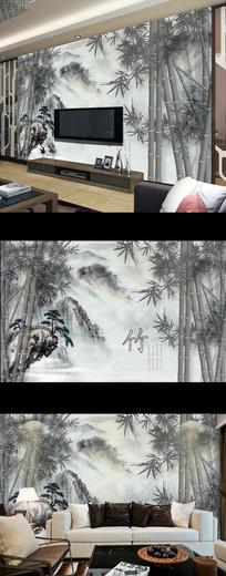 新中式水墨山水竹林壁画背景墙