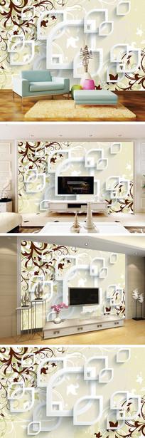 3D立体抽象百合花电视背景墙