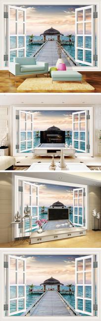 3D立体窗户海景电视背景墙