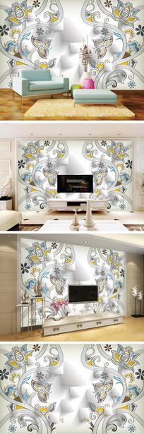 3D立体欧式花纹花朵电视背景墙