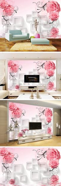 3D立体水中花玫瑰电视背景墙