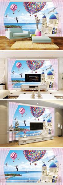 3D立体阳台窗帘风景电视背景墙