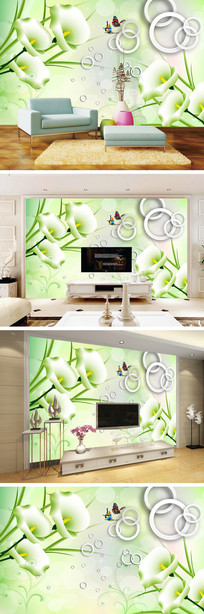 3D立体圆圈百合花电视背景墙