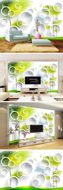 3D立体圆圈抽象树电视背景墙