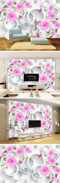 3D立体圆圈玫瑰电视背景墙