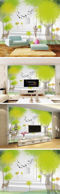 3D立体走廊抽象树麋鹿电视背景墙