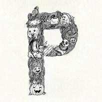 P字母字体设计eps EPS