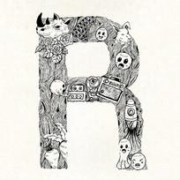 R字母字体设计eps EPS