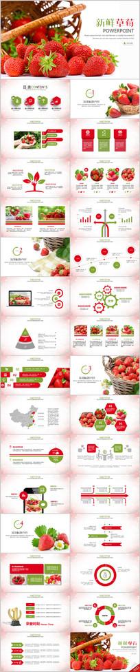 绿色水果农产品草莓园种植基地PPT模板