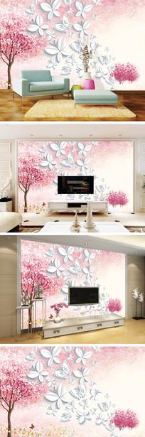 梦幻唯美桃树蝴蝶电视背景墙