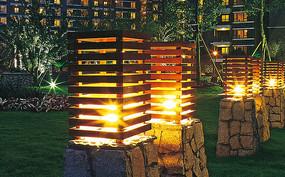木质镂空典雅草坪灯具
