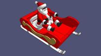 圣诞老人坐车模型 skp