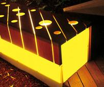 室外特色木质灯箱坐凳