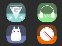 手机扁平化炫酷半透明APP图标