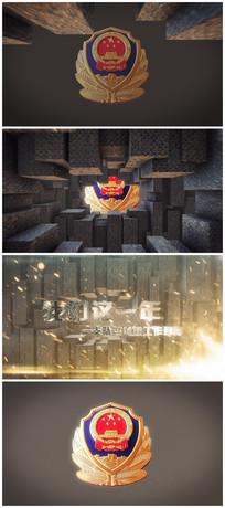 警徽铜墙铁壁片头AE模版