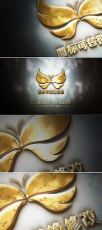 金黄色logo标志展示片头ae模板