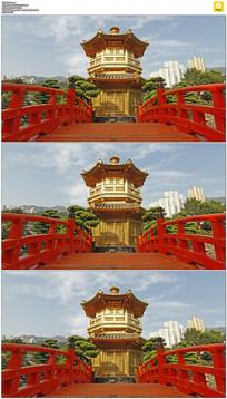 香港拱桥亭子实拍视频素材