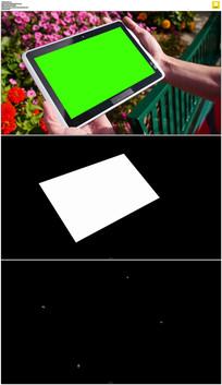 花园平板绿屏抠像视频素材