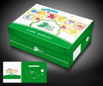绿色儿童卡通鞋盒包装设计模板