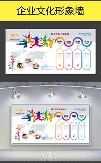 企业团队时尚文化创意PSD展示墙