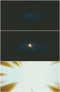 太空宇宙中一颗五角星闪光爆炸转场视频