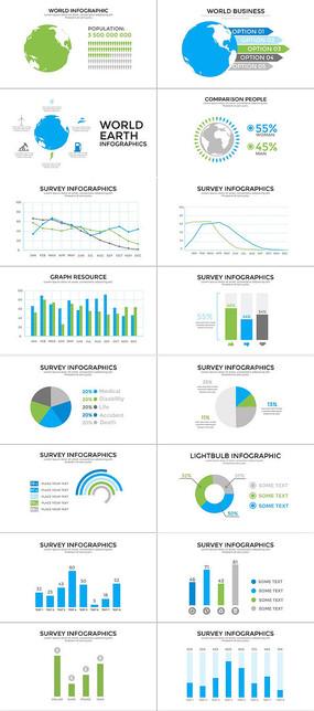 多组单个数据统计信息图表ae模板